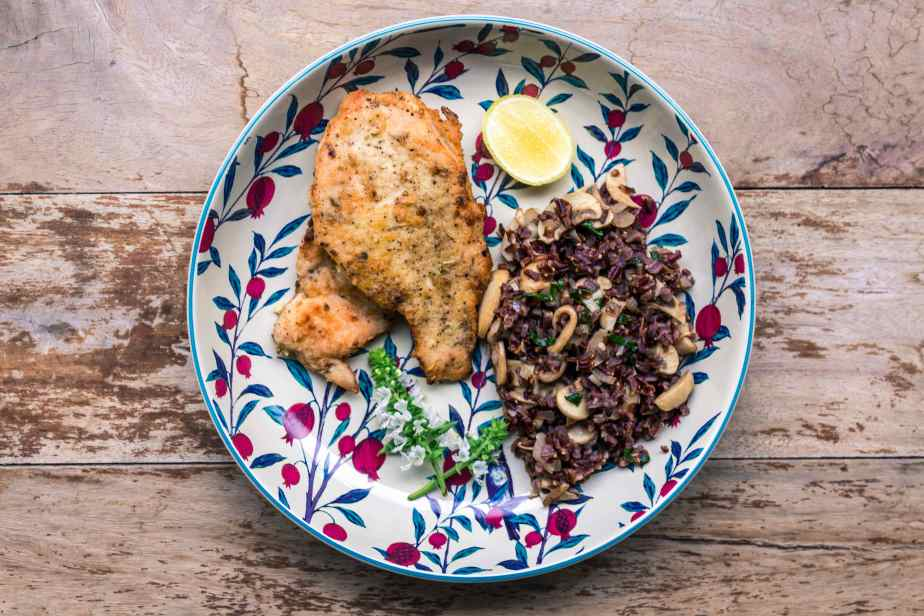 Lemon Garlic Chicken with Mushroom Wild Rice